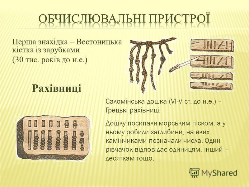 Перша знахідка – Вестоницька кістка із зарубками (30 тис. років до н.е.) Саломінська дошка (VI-V ст. до н.е.) – Грецькі рахівниці. Дошку посипали морським піском, а у ньому робили заглибини, на яких камінчиками позначали числа. Один рівчачок відповід