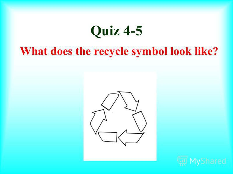Quiz 3-5 Name three materials that can be recycled. newspapers/paper aluminum cans milk jugs plastic soda bottles cardboard plasticmagazines Possible Answers: