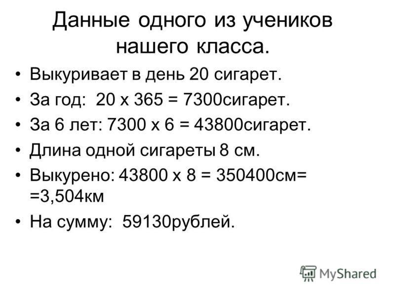 Данные одного из учеников нашего класса. Выкуривает в день 20 сигарет. За год: 20 х 365 = 7300 сигарет. За 6 лет: 7300 х 6 = 43800 сигарет. Длина одной сигареты 8 см. Выкурено: 43800 х 8 = 350400 см= =3,504 км На сумму: 59130 рублей.