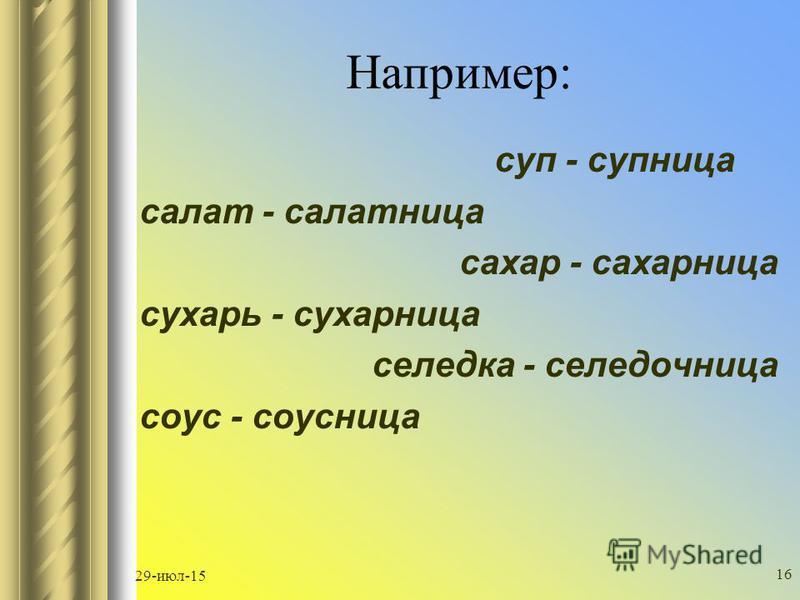 29-июл-15 15 1. часть речи производящей основы 2. словообразователльный формант 3. способ словообразования 4. словообразователльное значение