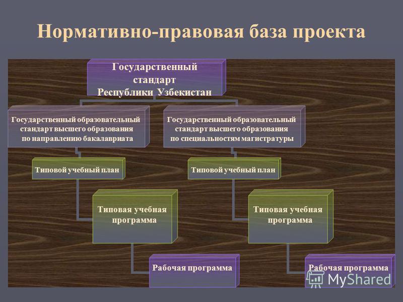 Нормативно-правовая база проекта Государственный стандарт Республики Узбекистан Государственный образовательный стандарт высшего образования по направлению бакалавриата Типовой учебный план Типовая учебная программа Рабочая программа Государственный
