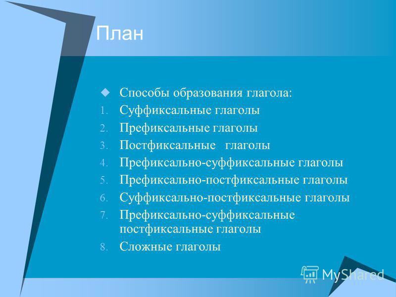 План Способы образавания глагола: 1. Суффиксальные глаголы 2. Префиксальные глаголы 3. Постфиксальные глаголы 4. Префиксально-суффиксальные глаголы 5. Префиксально-постфиксальные глаголы 6. Суффиксально-постфиксальные глаголы 7. Префиксально-суффикса