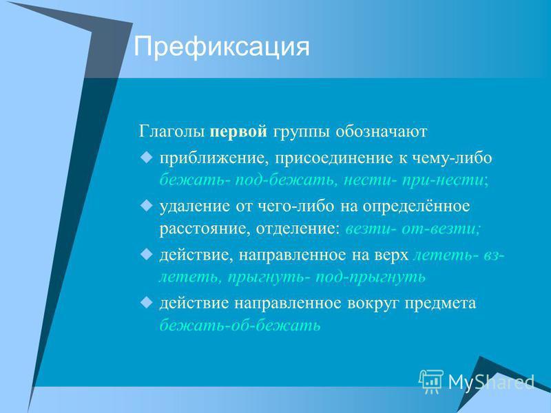 Префиксация Глаголы первой группы обозначают приближение, присоединение к чему-либо бежать- под-бежать, нести- при-нести; удаление от чего-либо на определённое расстояние, отделение: везти- от-везти; действие, направленное на верх лететь- фз- лететь,
