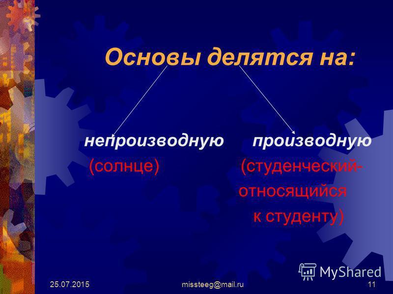 25.07.2015missteeg@mail.ru11 Основы делятся на: непроизводную производную (солнце) (студенческий- относящийся к студенту)