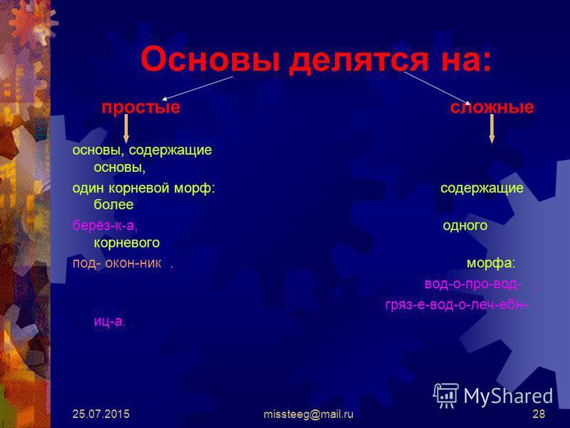 25.07.2015missteeg@mail.ru28 Основы делятся на: простые сложные основы, содержащие основы, один корневой морф: содержащие более берёз-к-а, одного корневого под- окон-ник. морфа: вод-о-про-вод-, гряз-е-водолечебница.