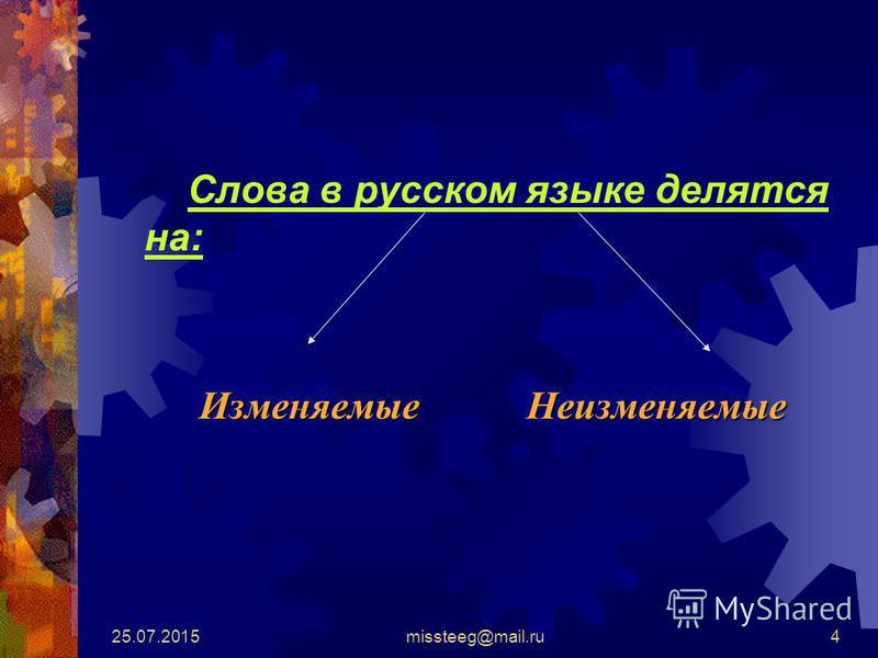 25.07.2015missteeg@mail.ru4 Слова в русском языке делятся на: Изменяемые Неизменяемые