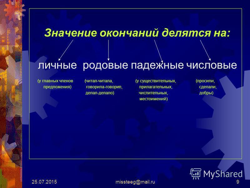25.07.2015missteeg@mail.ru9 Значение окончаний делятся на: личные родовые падежные числовые (у главных членов (читал-читала, (у существительных, (просили, предложения) говорила-говорил, прилагательных, сделали, делал-делало) числительных, добры) мест