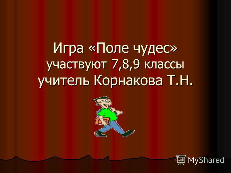 Игра «Поле чудес» участвуют 7,8,9 классы учитель Корнакова Т.Н.