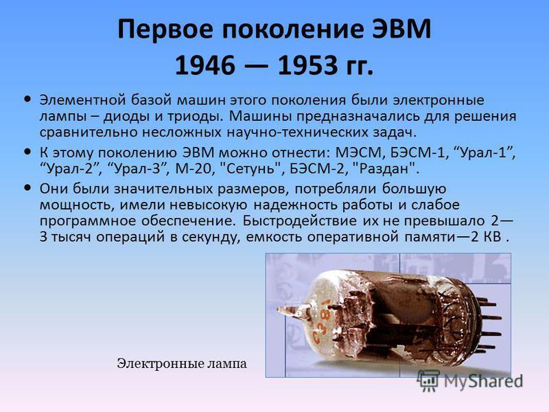 Первое поколение ЭВМ 1946 1953 гг. Элементной базой машин этого поколения были электронные лампы – диоды и триоды. Машины предназначались для решения сравнительно несложных научно-технических задач. К этому поколению ЭВМ можно отнести: МЭСМ, БЭСМ-1,