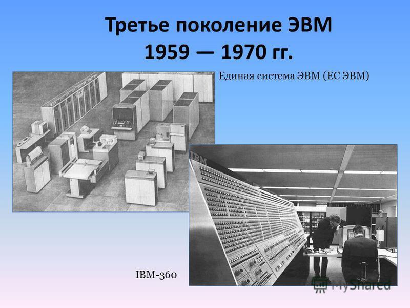Третье поколение ЭВМ 1959 1970 гг. Единая система ЭВМ (ЕС ЭВМ) IBM-360