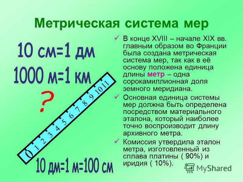 Метрическая система мер В конце ХVIII – начале ХIХ вв. главным образом во Франции была создана метрическая система мер, так как в её основу положена единица длины метр – одна сорокамиллионная доля земного меридиана. Основная единица системы мер должн