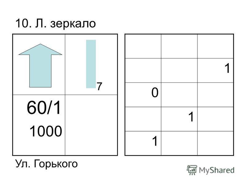 10. Л. зеркало 60/1 1000 1 0 1 1 Ул. Горького 7