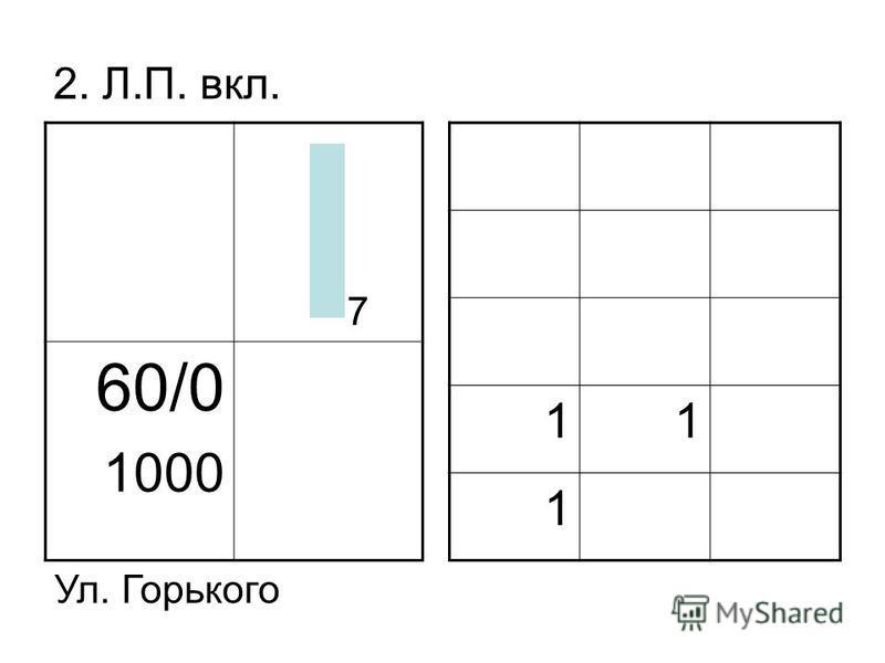 2. Л.П. вкл. 60/0 1000 11 1 Ул. Горького 7