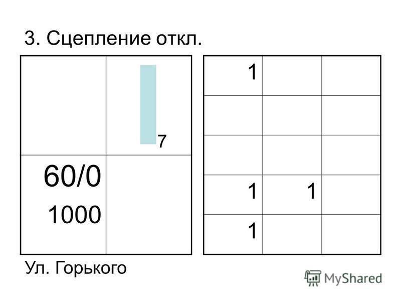 3. Сцепление откл. 60/0 1000 1 11 1 Ул. Горького 7