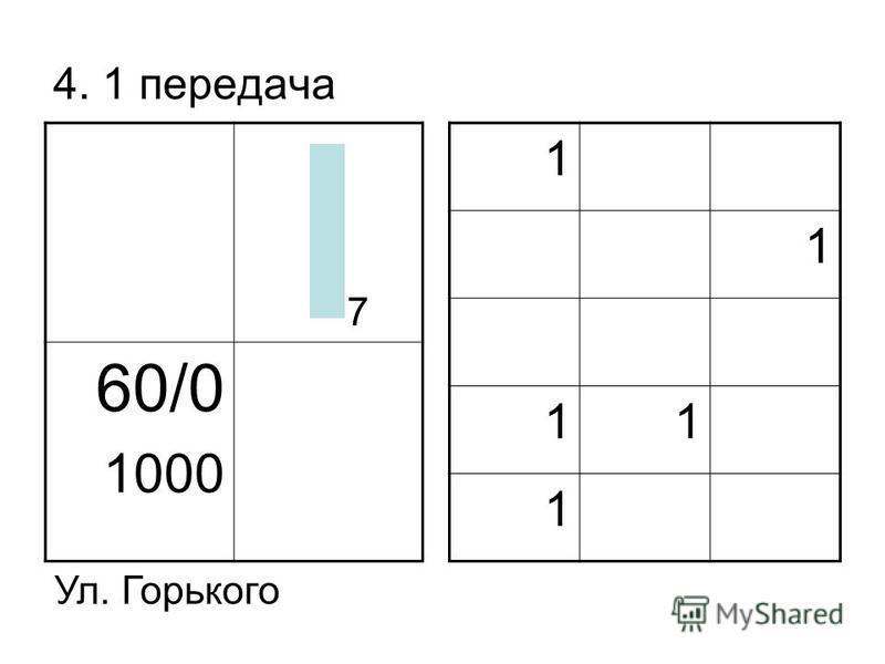 4. 1 передача 60/0 1000 1 1 11 1 Ул. Горького 7