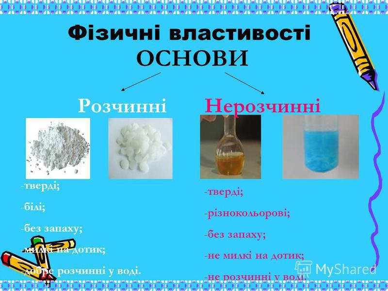 Фізичні властивості ОСНОВИ РозчинніНерозчинні -тверді; -білі; -без запаху; -милкі на дотик; -добре розчинні у воді. -тверді; -різнокольорові; -без запаху; -не милкі на дотик; -не розчинні у воді.