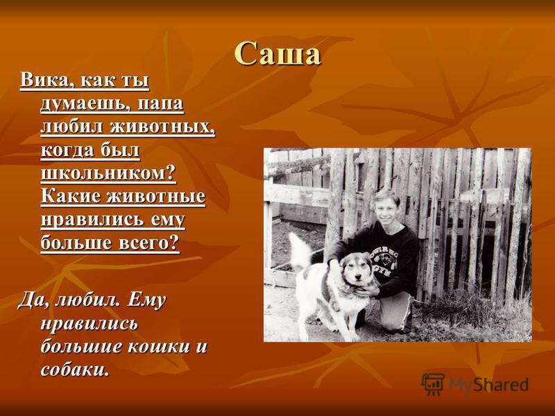 Саша Вика, как ты думаешь, папа любил животных, когда был школьником? Какие животные нравились ему больше всего? Да, любил. Ему нравились большие кошки и собаки.