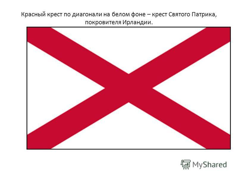 Красный крест по диагонали на белом фоне – крест Святого Патрика, покровителя Ирландии.