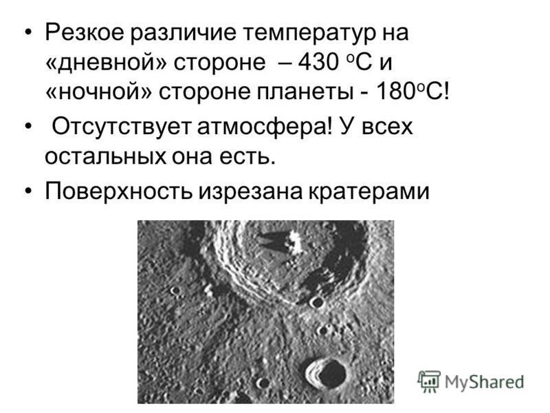 Резкое различие температур на «дневной» стороне – 430 о С и «ночной» стороне планеты - 180 о С! Отсутствует атмосфера! У всех остальных она есть. Поверхность изрезана кратерами