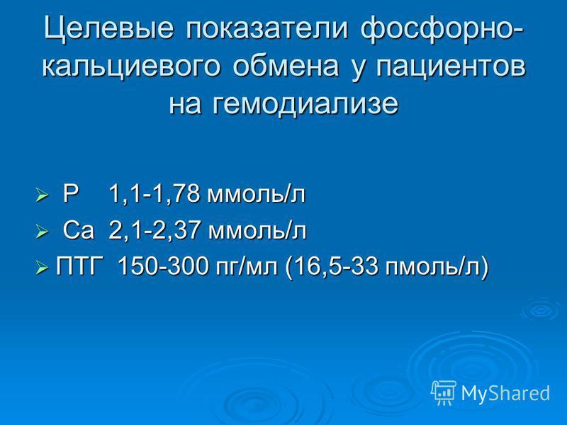 Целевые показатели фосфорно- кальциевого обмена у пациентов на гемодиализе Р 1,1-1,78 ммоль/л Р 1,1-1,78 ммоль/л Са 2,1-2,37 ммоль/л Са 2,1-2,37 ммоль/л ПТГ 150-300 пг/мл (16,5-33 пмоль/л) ПТГ 150-300 пг/мл (16,5-33 пмоль/л)