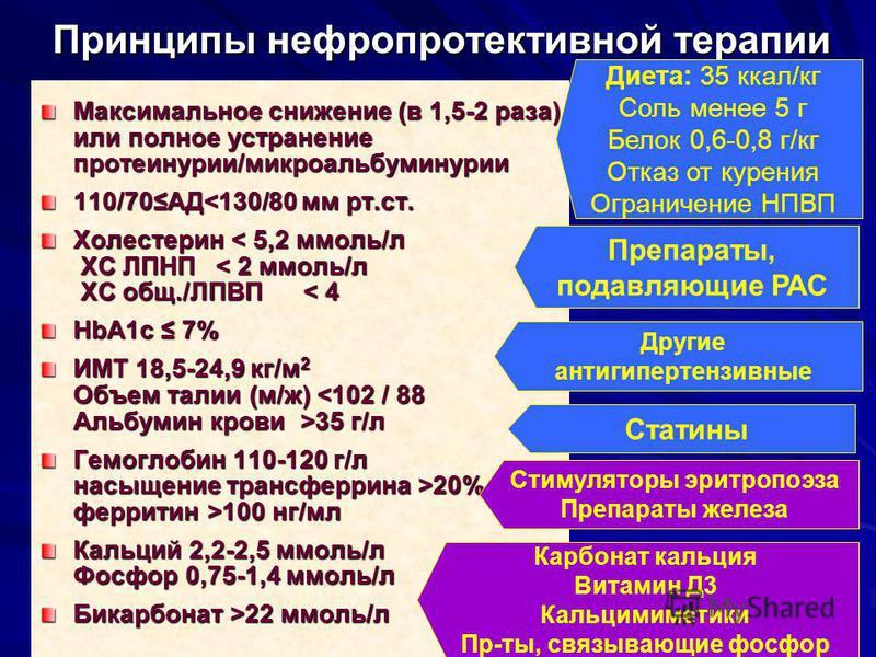 Принципы нефропротективной терапии Максимальное снижение (в 1,5-2 раза) или полное устранение протеинурии/микроальбуминурии 110/70АД<130/80 мм рт.ст. Холестерин < 5,2 ммоль/л ХС ЛПНП < 2 ммоль/л ХС общ./ЛПВП < 4 HbA1c 7% ИМТ 18,5-24,9 кг/м 2 Объем та