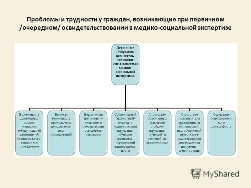 Проблемы и трудности у граждан, возникающие при первичном /очередном/ освидетельствовании в медико-социальной экспертизе