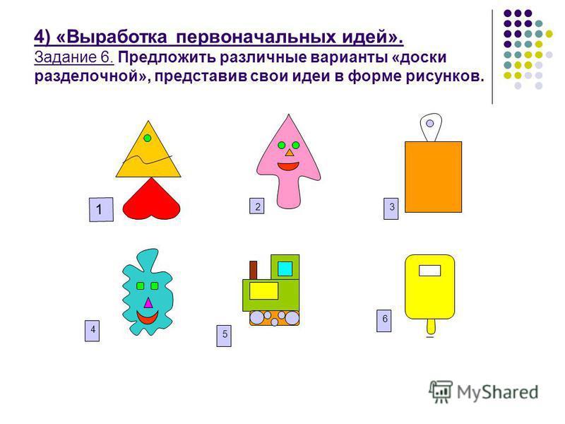 4) «Выработка первоначальных идей». Задание 6. Предложить различные варианты «доски разделочной», представив свои идеи в форме рисунков. 23 6 1 4 5