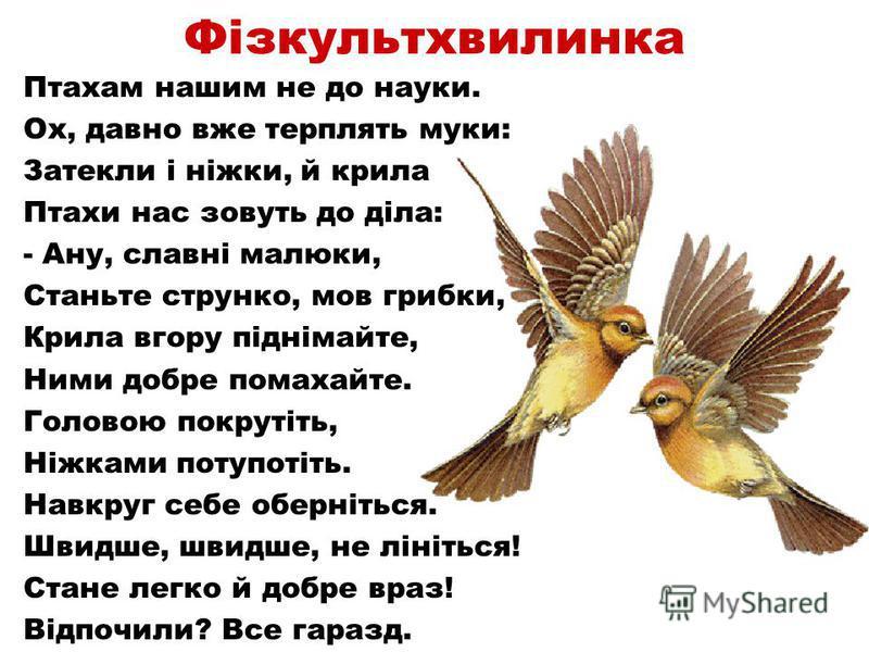 Фізкультхвилинка Птахам нашим не до науки. Ох, давно вже терплять муки: Затекли і ніжки, й крила Птахи нас зовуть до діла: - Ану, славні малюки, Станьте струнко, мов грибки, Крила вгору піднімайте, Ними добре помахайте. Головою покрутіть, Ніжками пот