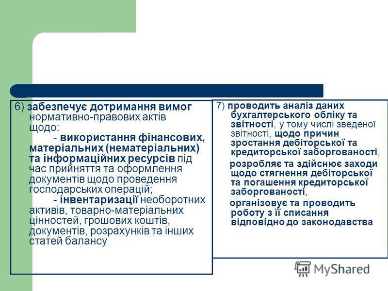 6) забезпечує дотримання вимог нормативно-правових актів щодо: - використання фінансових, матеріальних (нематеріальних) та інформаційних ресурсів під час прийняття та оформлення документів щодо проведення господарських операцій; - інвентаризації необ