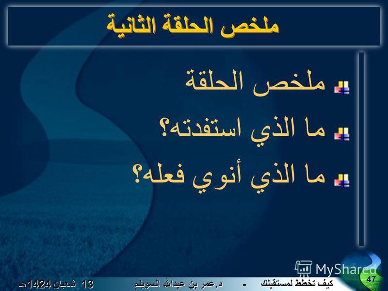 كيف تخطط لمستقبلك - د. عمر بن عبدالله السويلم 13 شعبان 1424 هـ 47 ملخص الحلقة الثانية ملخص الحلقة ما الذي استفدته؟ ما الذي أنوي فعله؟