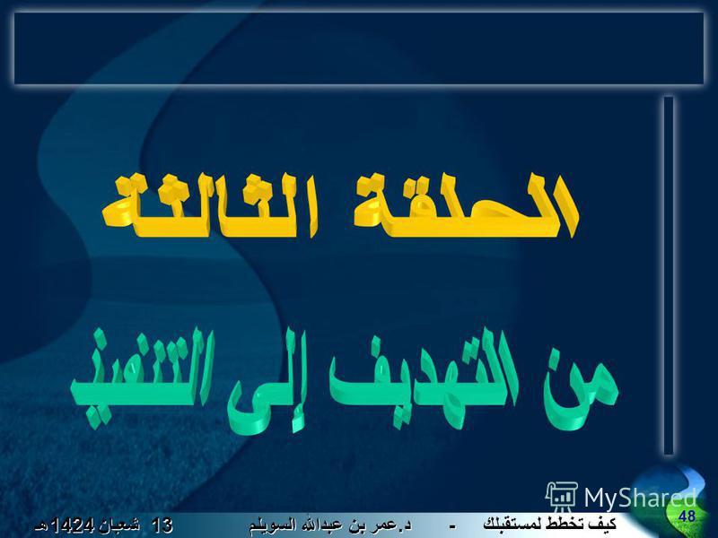 كيف تخطط لمستقبلك - د. عمر بن عبدالله السويلم 13 شعبان 1424 هـ 48