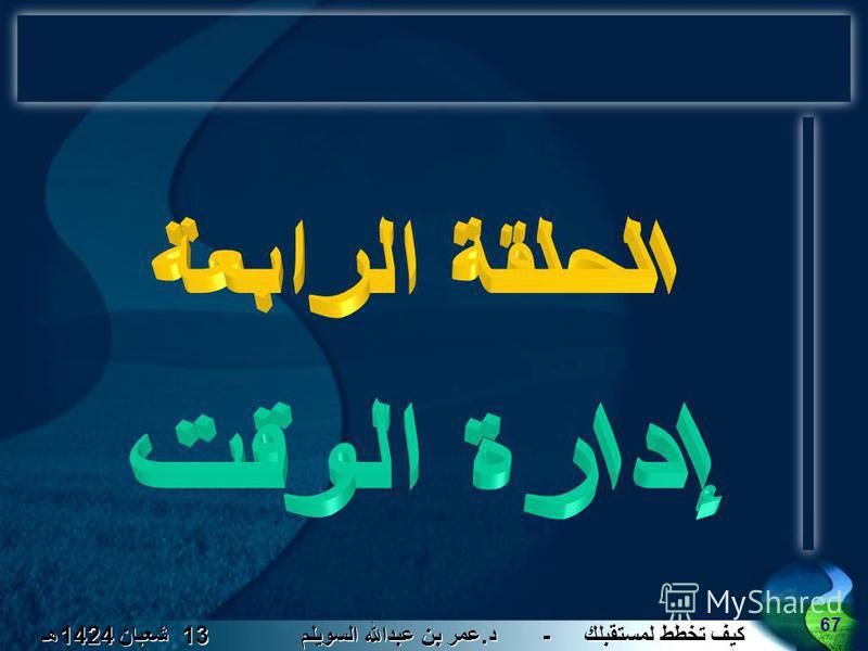 كيف تخطط لمستقبلك - د. عمر بن عبدالله السويلم 13 شعبان 1424 هـ 67