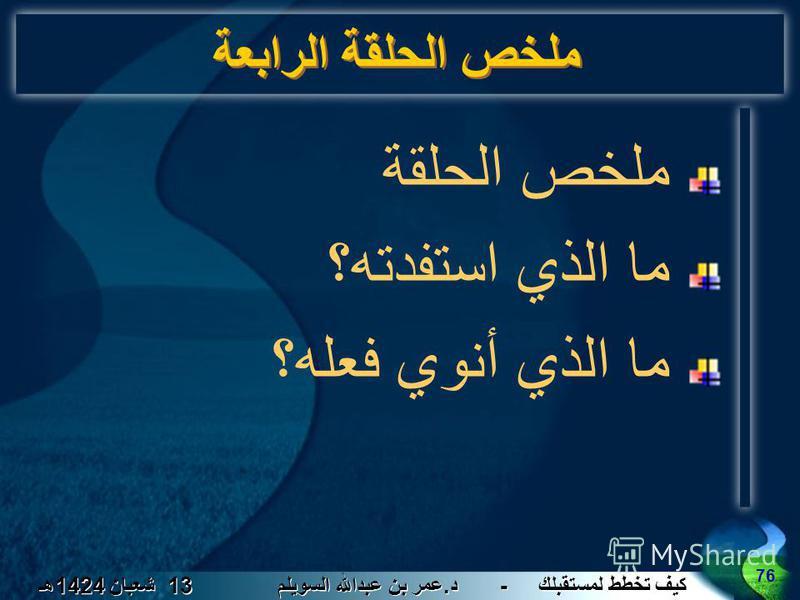 كيف تخطط لمستقبلك - د. عمر بن عبدالله السويلم 13 شعبان 1424 هـ 76 ملخص الحلقة الرابعة ملخص الحلقة ما الذي استفدته؟ ما الذي أنوي فعله؟