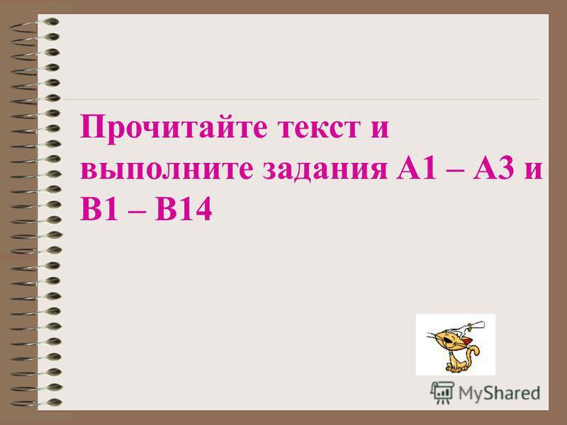 Прочитайте текст и выполните задания А1 – А3 и В1 – В14