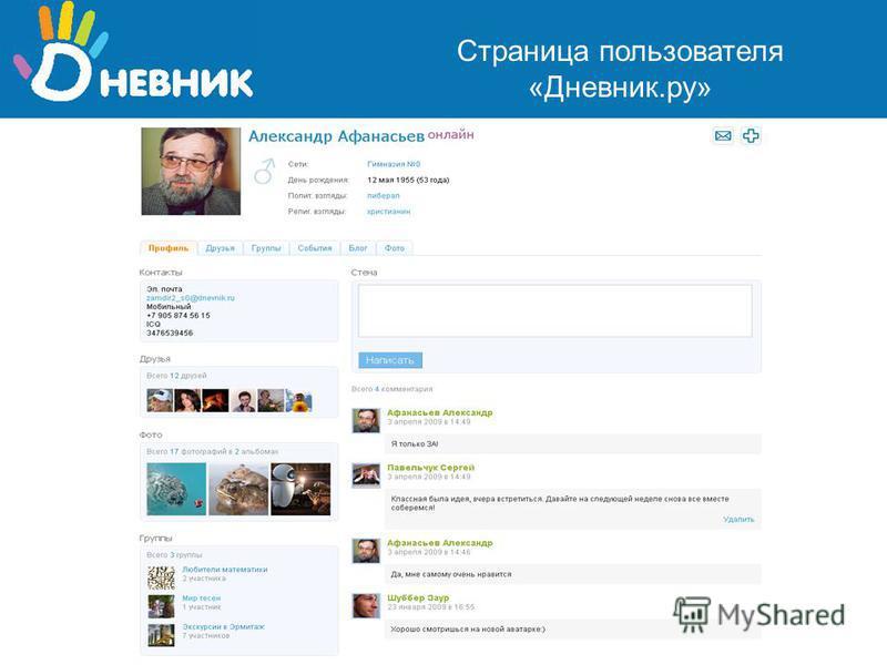 Страница пользователя «Дневник.ру»