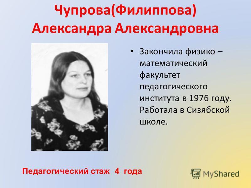 Чупрова(Филиппова) Александра Александровна Закончила физико – математический факультет педагогического института в 1976 году. Работала в Сизябской школе. Педагогический стаж 4 года