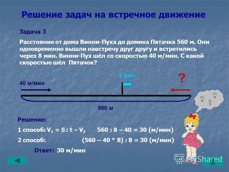 Решение задач на встречное движение Задача 2 Винни-Пух и Пятачок одновременно вышли навстречу друг другу. Винни-Пух шёл со скоростью 40 м/мин, а Пятачок – 30 м/мин. Через сколько минут они встретятся, если расстояние между ними было 560 м? Решение: t