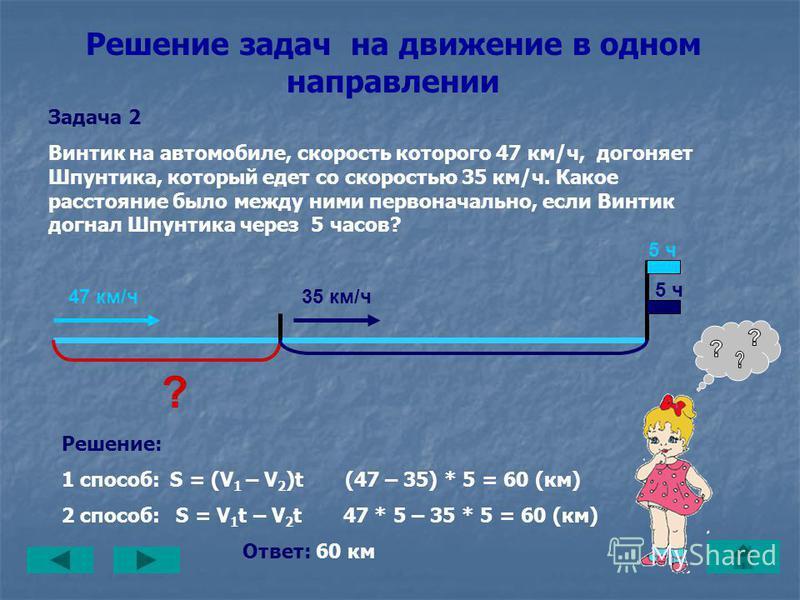 Решение задач на движение в одном направлении Задача 1 Одновременно в одном направлении из гаража выехали Винтик и Шпунтик. Винтик едет со скоростью 47 км/ч, а Шпунтик – 35 км/ч. Какое расстояние будет между ними через 5 часов? Решение: 1 способ: S =