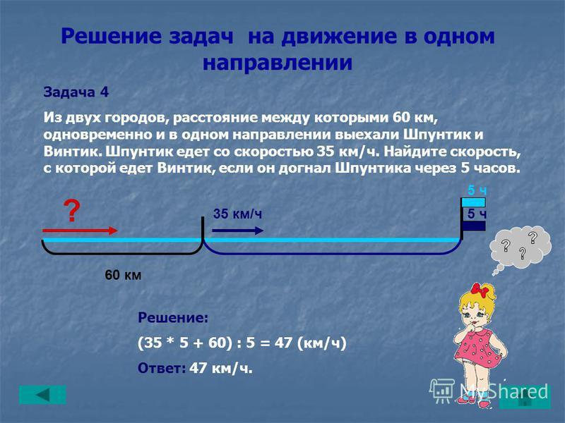 Решение задач на движение в одном направлении Задача 3 Шпунтик едет со скоростью 35 км/ч. Винтик на автомобиле, скорость которого 47 км/ч, его догоняет. Через сколько времени Винтик догонит Шпунтика, если первоначальное расстояние между ними было 60
