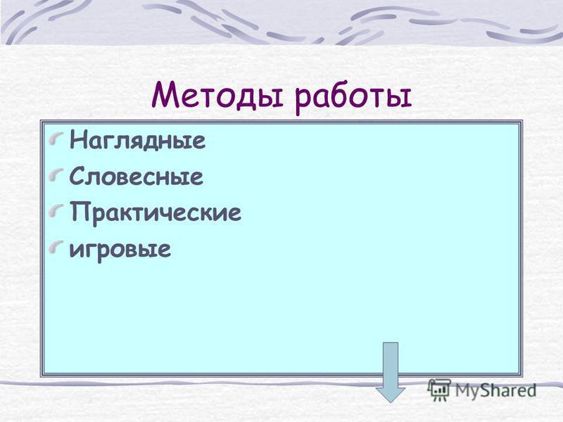Методы работы Наглядные Словесные Практические игровые