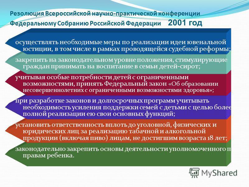 Резолюция Всероссийской научно-практической конференции Федеральному Собранию Российской Федерации 2001 год осуществлять необходимые меры по реализации идеи ювенальной юстиции, в том числе в рамках проводящейся судебной реформы; закрепить на законода