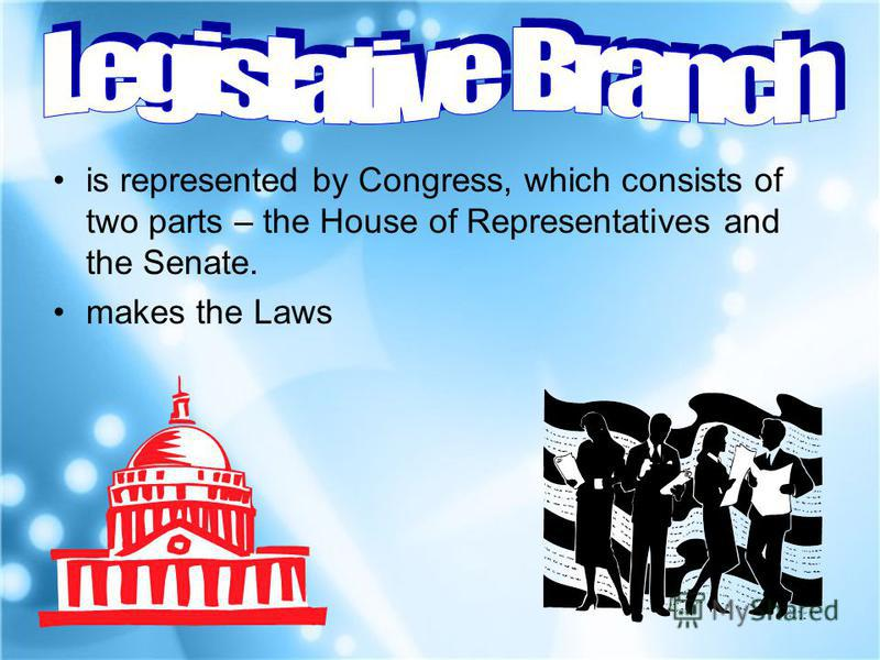 is represented by Congress, which consists of two parts – the House of Representatives and the Senate. makes the Laws