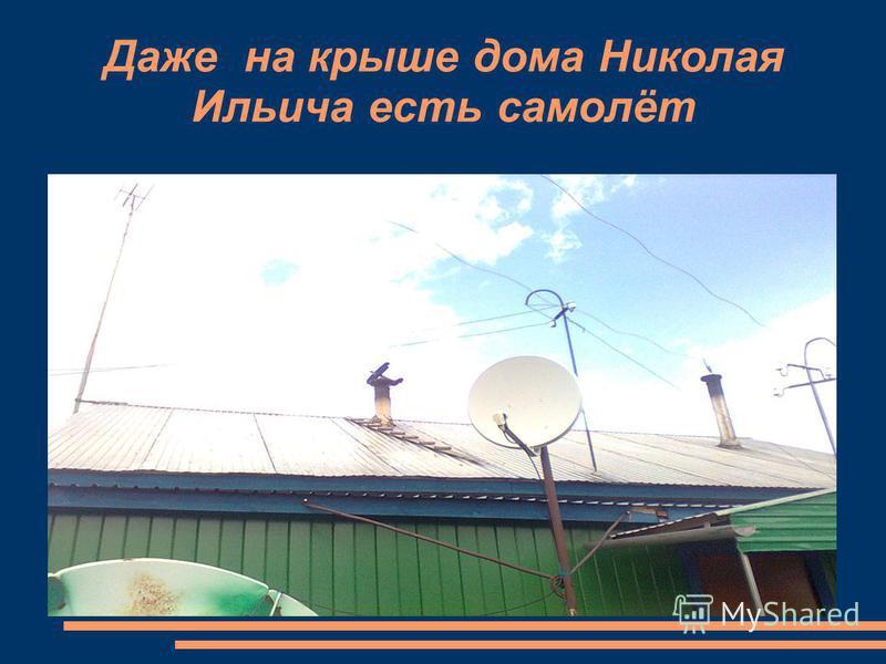 Даже на крыше дома Николая Ильича есть самолёт