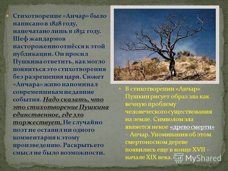 Стихотворение «Анчар» было написано в 1828 году, напечатано лишь в 1832 году. Шеф жандармов настороженно отнёсся к этой публикации. Он просил Пушкина ответить, как могло появиться это стихотворения без разрешения царя. Сюжет «Анчара» живо напоминал с