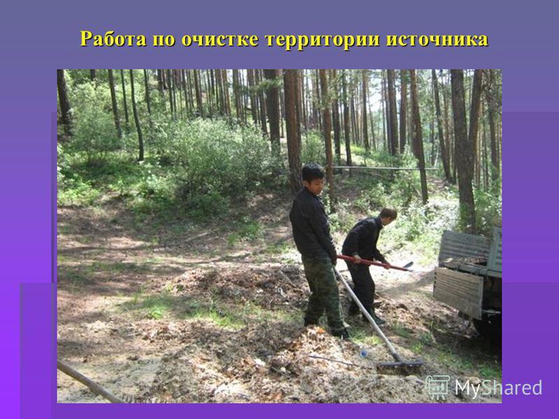 Работа по очистке территории источника