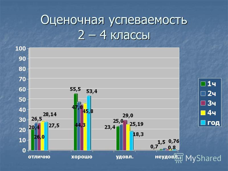 Оценочная успеваемость 2 – 4 классы