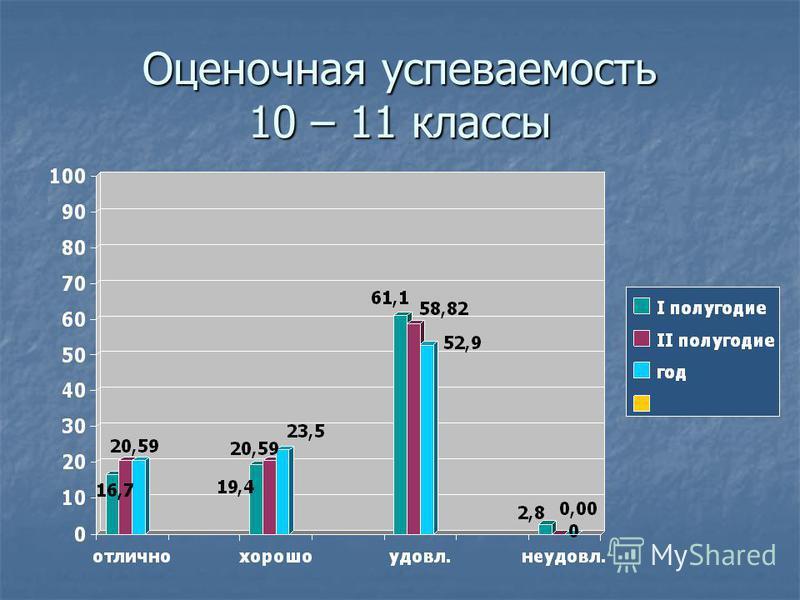 Оценочная успеваемость 10 – 11 классы