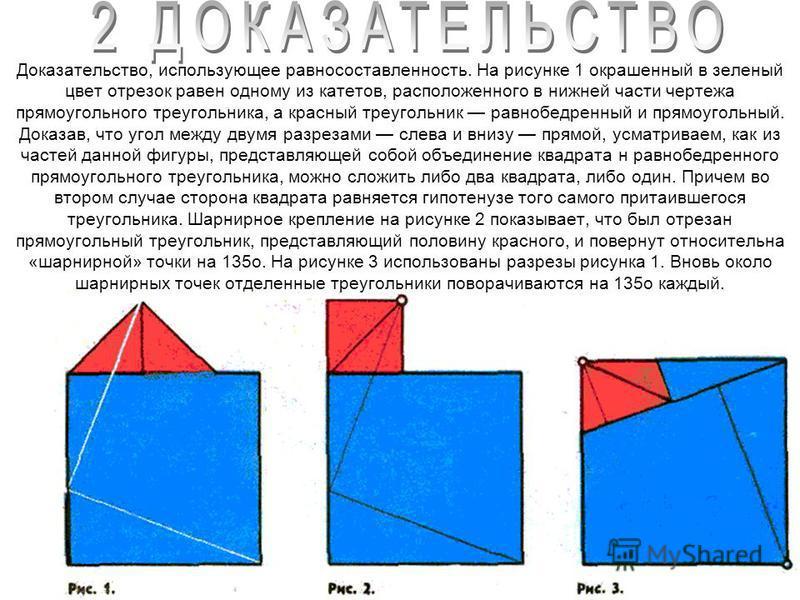 Доказательство, использующее равносоставленность. На рисунке 1 окрашенный в зеленый цвет отрезок равен одному из катетов, расположенного в нижней части чертежа прямоугольного треугольника, а красный треугольник равнобедренный и прямоугольный. Доказав