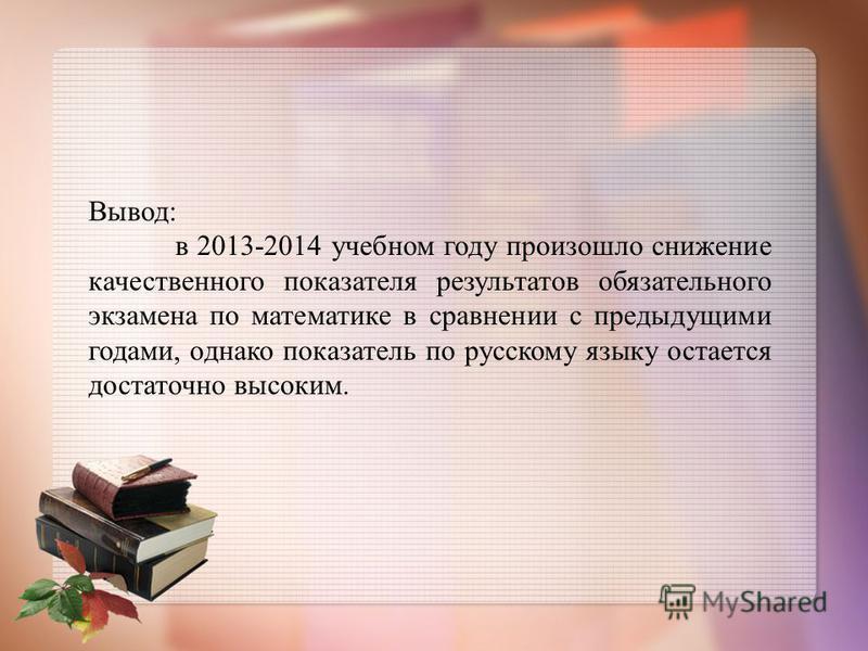 Вывод: в 2013-2014 учебном году произошло снижение качественного показателя результатов обязательного экзамена по математике в сравнении с предыдущими годами, однако показатель по русскому языку остается достаточно высоким.