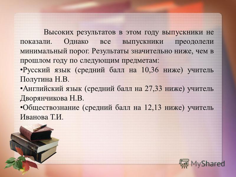 Высоких результатов в этом году выпускники не показали. Однако все выпускники преодолели минимальный порог. Результаты значительно ниже, чем в прошлом году по следующим предметам: Русский язык (средний балл на 10,36 ниже) учитель Полутина Н.В. Англий